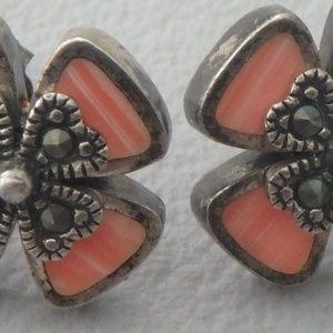 sterling silver marcasite & Rhodochrosite earrings